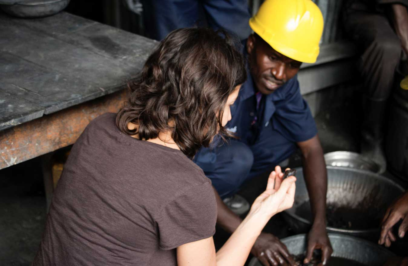 Monique Lempers from Fairphone at the mine in Rwanda.