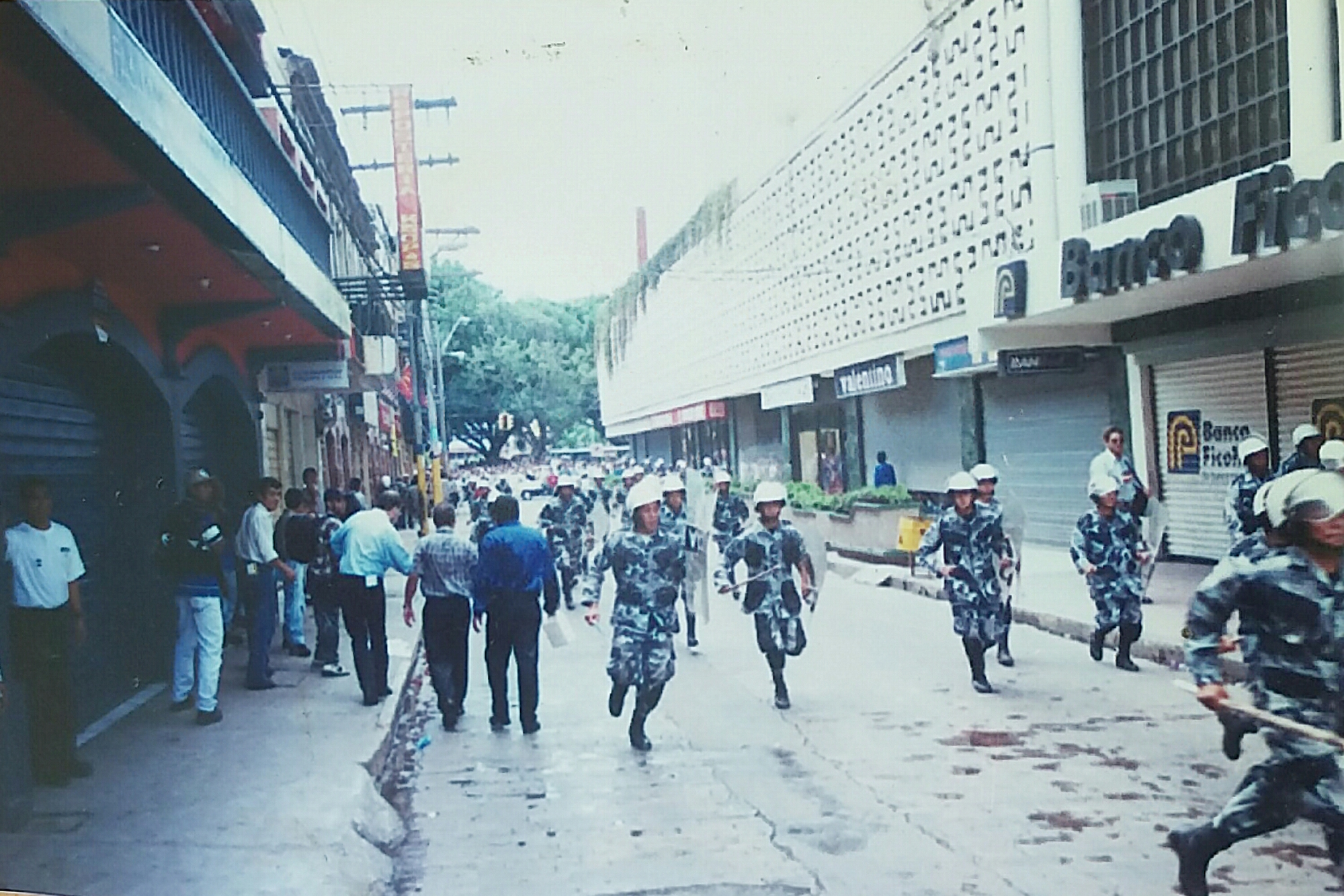 Security forces in downtown Tegucigalpa, Honduras.