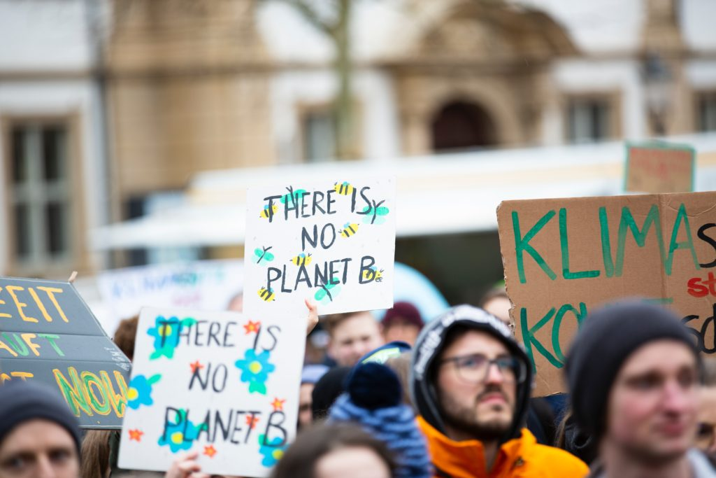 Global climate change strike at Schlossplatz, Erlangen.