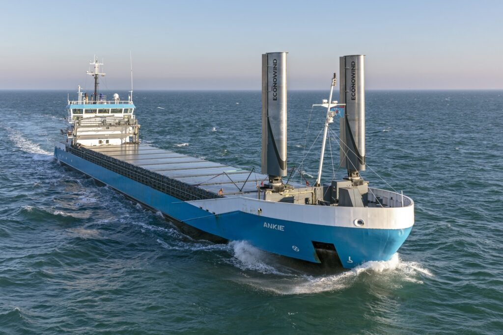 The Dutch coaster MV Ankie equipped with a set of Econowind Ventifoil systems. (Credit: www.econowind.nl)
